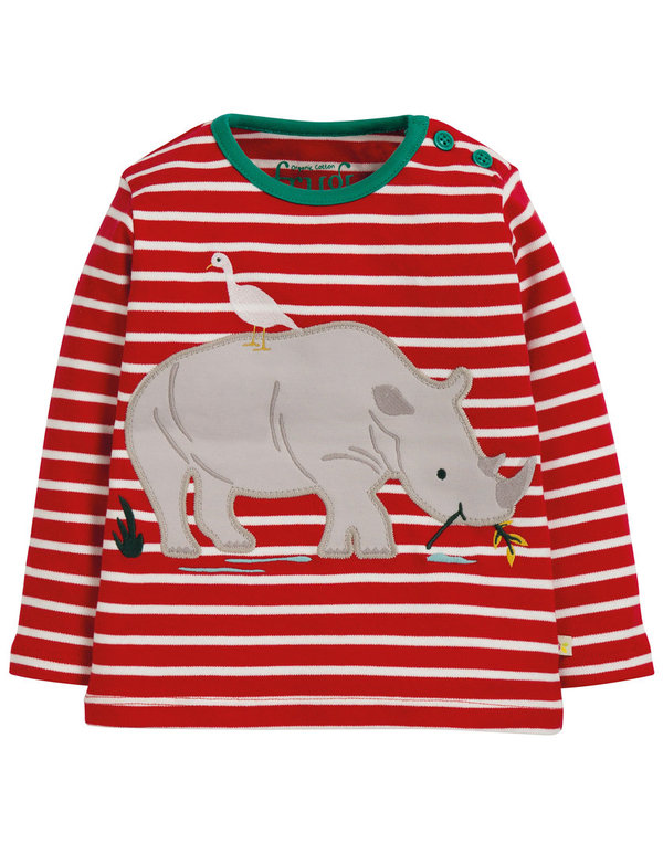 Frugi - Button Applique Top Rhino- Shirt mit Nashorn weiß/ rot gestreift