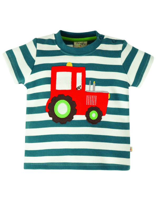 Frugi - Little Wheels Applique Top Tractor - blau / weiß gestreiftes T-Shirt mit Traktor