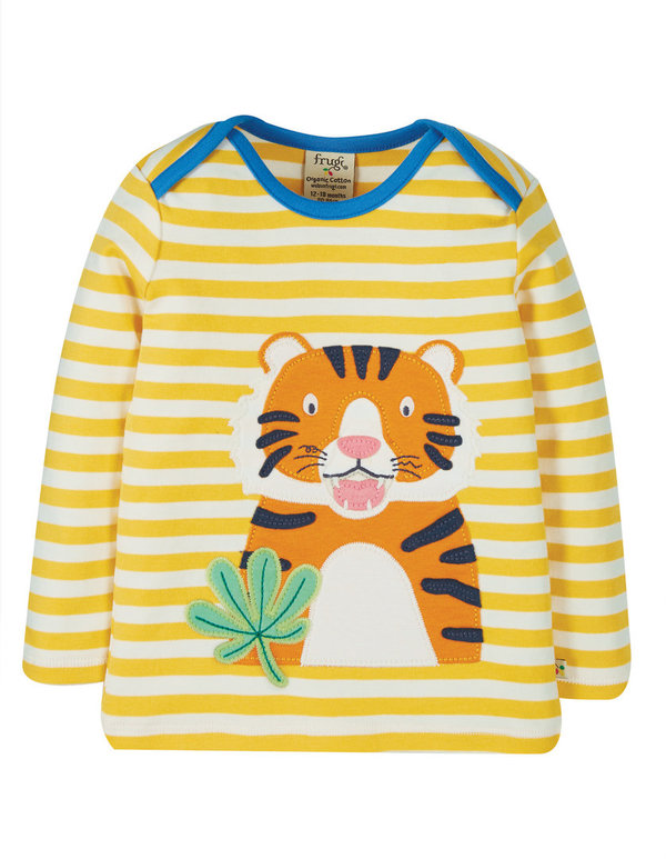 Frugi - little Bumble Bee Tiger Bobby Applique Top - Langarmshirt gestreift mit Tiger Applikation