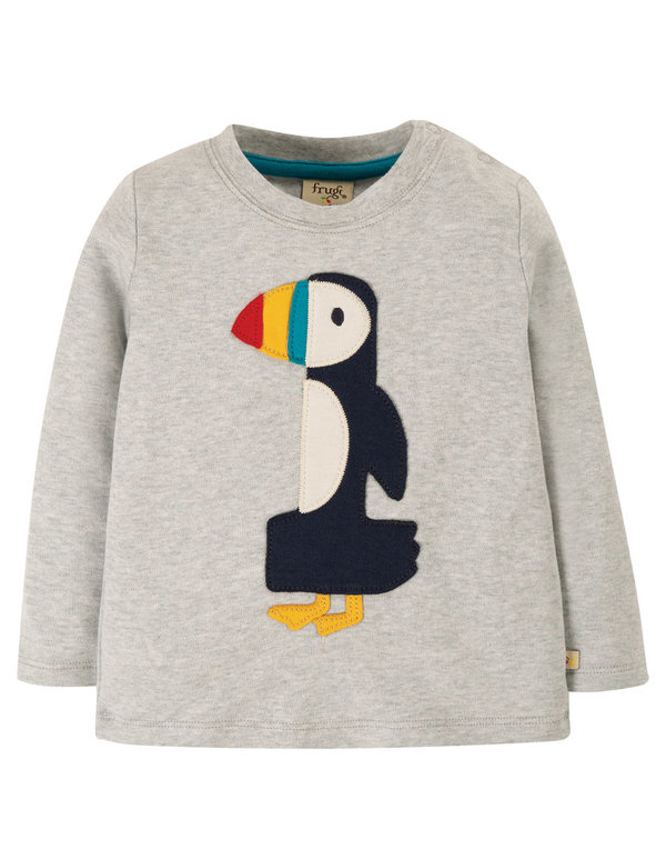 Frugi  - Grey Marl Papageientaucher Magic Number T-Shirt 12-18 Monate - Geburtstags Shirt  - 1 Jahr