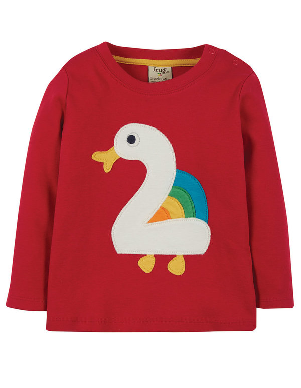 Frugi - Tango Red Duck Magic Nummer T-Shirt 2-3 Jahre - Geburtstags Shirt - 2 Jahr